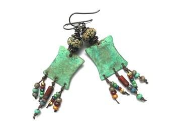 Tribal Jewelry, Lampwork Earrings, Artisan Jewelry, Copper Earrings, Boho Jewelry, Bohemian Jewelry, Tribal Earrings