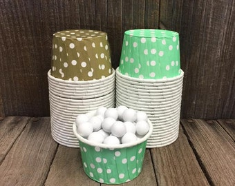 Gold and Mint Paper Snack Cups - Set of 48 - Polka Dot Candy Cup - Birthday Party - Mini Ice Cream Cup - Paper Nut Cup - Same Day Shipping