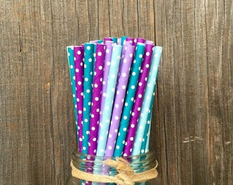 100 Teal, Purple and Blue Polka Dot Paper Straws - Under the Sea Party Supply, Pool Party- Birthday Party Supply- Baby Shower
