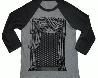 Unisex geometrische Vorhang 3/4-Länge Ärmel Vintage-Stil Baseball T-shirt