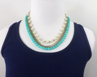 Multi Strand Mixed Bead Turquoise Necklace Aqua Pearl Silver Gold Chain 5 Strand Beaded Chain Vintage Necklace Jewelry
