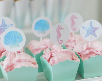 Printable Cupcake Toppers - Mermaid Party - Sea Creatures