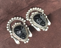 Sterling Silver and Black Onyz Mexican Carved Mask Face Earrings - Great Detail!