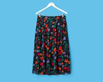 Floral Mid Length Skirt Vintage 90s Boho Kawaii Black Printed Bohemian Tucked Waisted Knee Length Gypsy Hippie Skirt Women's Large