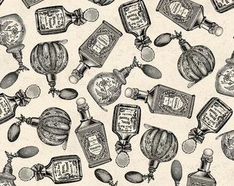 Perfume Fabric - Madame et Homme Parfum Bottles by Pela Studios for David Textiles 3118 3C Cream - 1/2 yard
