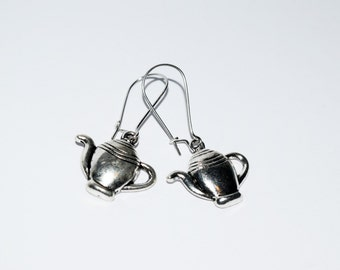 Cute Antique Silver Teapot Design Drop Earrings