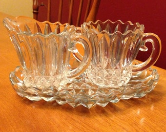 Beautiful Vintage Glass Creamer and Sugar with Tray Set