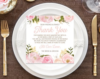 Instant Download - Floral Thank You Place Card - Wedding Reception - Place Setting Card - Thank You