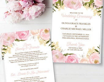 Folded Wedding Program Template - Wedding Program - Editable Wedding Program - DIY Folded Program - Wedding Ceremony - Instant Download