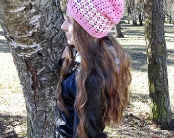 Pink slouchy beaniet, slouchy cotton hat, vegan hat