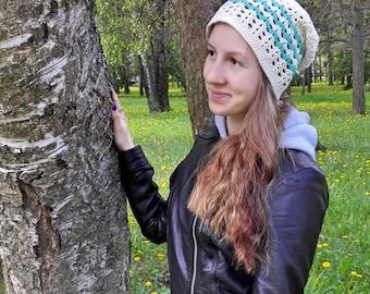 Slouchy beanie for women, white and marine blue cotton hat beanie
