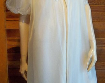 Vintage Lingerie 1950s GOTHAM Gold Stripe Size MEDIUM White Chiffon Peignoir or Robe