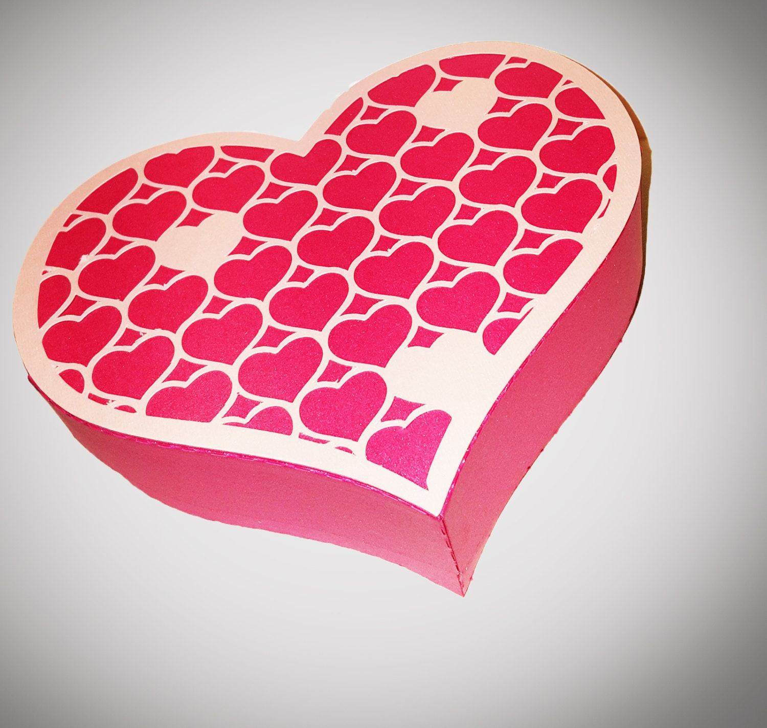 Heart Shaped Gift Box With Heart Cut Out Lid Template