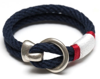 Nautical Rope Bracelet / Silver Hook Clasp Bracelet / Navy Blue Rope Bracelet / Patriotic Rope Bracelet / Nautical Jewelry / Summer Jewelry