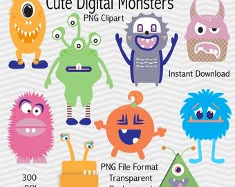 "Monster Clipart: ""CUTE MONSTERS"" monster digital download, monsters digital clipart, digital images - Instant download"