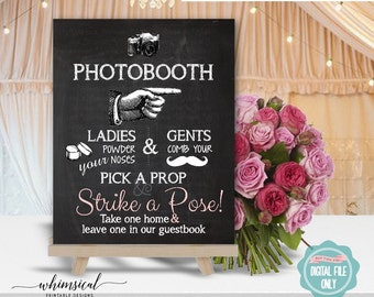 Photo Booth Sign (Printable File Only) Pointing Right, Chalk Sign, Photobooth Sign, Wedding Photo Booth, Wedding Guest Book, Wedding Sign