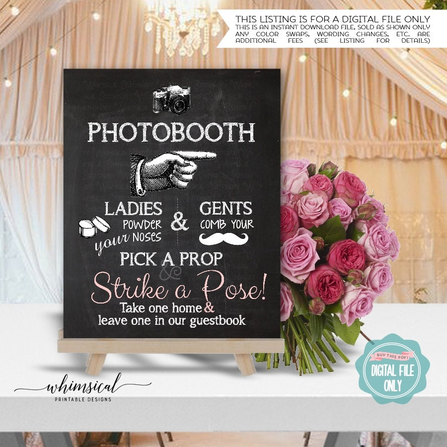 Photo Booth Sign Printable File Only Pointing Right Chalk