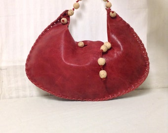 Free Ship Red Leather Purse w/ Cork Round Beads Shoulder Bag
