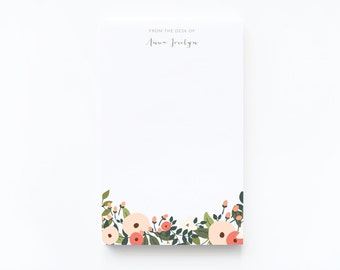 Personalized Notepad | Large Floral Illustrated Custom Notepad, Customized Stationery : Rosy Grove Collection Personalized Stationery