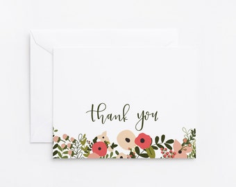Floral Thank You Card Set of 8 | Illustrated Botanical Thank You Notecards with Hand Lettered Calligraphy : Blooming Wreath Collection