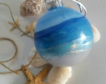 Beach Theme Christmas Ornament - Ocean Painted Glass Ornament- Sand inside beach ornament- Beach Christmas- Gift Idea- Coastal Christmas