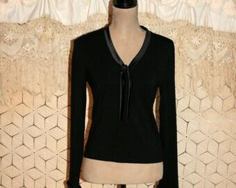 Long Sleeve Black Top Black Satin Trim Jersey Blouse Minimalist Clothing Pullover Top V Neck Tie Ralph Lauren Small Medium Womens Clothing
