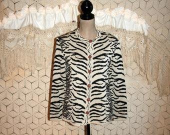 80s Animal Print Cardigan Sweater Petite 1980s Clothing Women Cardigan Tiger Stripe Vintage Clothing Cardigan Small Medium Womens Clothing
