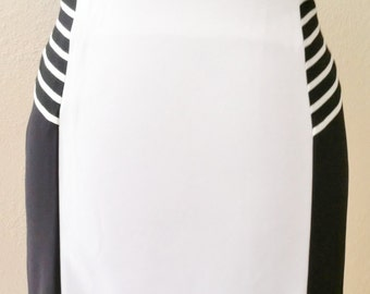 Ooak Black/white Colorblock Pencil Skirt With Flounce