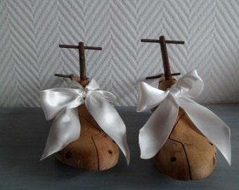 Paire de forme a chaussures ancienne en bois et fer