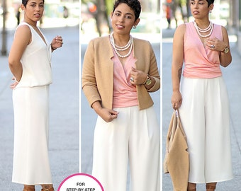 Misses Top, Wide Leg Cropped Pant and Lined Jacket designed by mimi G style. Size 16-24. Simplicity 8093. Pattern is new and uncut.