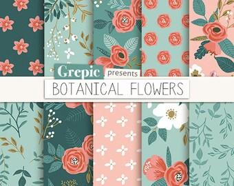 """Floral digital paper: """"BOTANICAL FLOWERS"""" vintage flowers, hand drawn, patterns, floral background, colorful, flower pattern, garden, summer"""