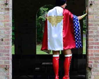 Wonder Superhero Woman CAPE Stars & Stripes