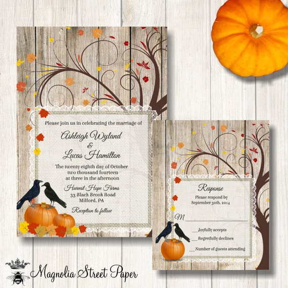 Fall wedding invitation pumpkins and crows wedding invite for Fall wedding invitations with pumpkins