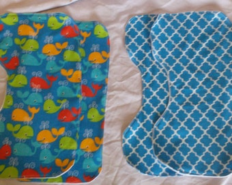 Set of 4 Shoulder Burp Cloths - Whales