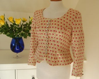 Exquisite Tyrolean Vintage Jacket in brocade with lovely buttons and handstitched details