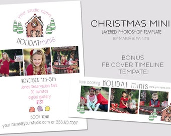 Holiday Mini Session Photography Template - Marketing Template - Christmas - Bonus FB Timeline Cover Template - Holiday Portraits