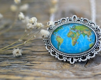 World Map Necklace, Old Map Necklace, Retro World Map, World Map, Map Necklace, Earth Map, Earth Necklace, Continents Map, Oceans Map