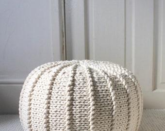 Cream beige ecru cotton floor pouf ottoman knitted pouf knit pouf nursery decor, knitted ottoman footstool nursery pouffe baby pouffe ZURI