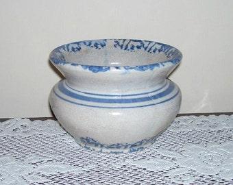 Antique Stoneware Spongeware Blue Band Cuspidor Bowl Spittoon