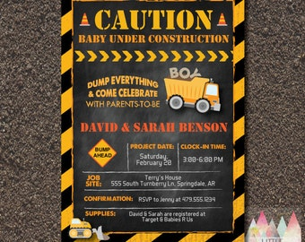 Construction Baby Shower Invitation. Baby Boy. Boy Shower Invitation. Coed  Baby Shower.