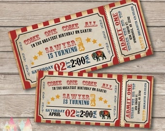 Circus Invitation. Circus Birthday Invitation. Circus Party. Vintage Circus Ticket - Printable Invitation. Circus Themed Party.