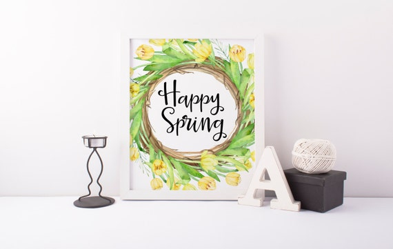 happy spring printable · watercolor tulip wreath print · spring wall decor · yellow tulips · spring art print · seasonal calligraphy print