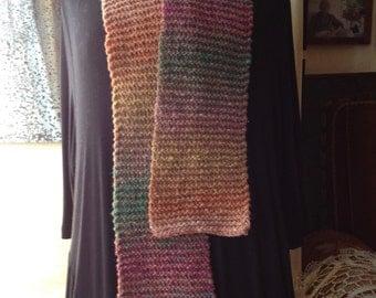 ON SALE-Handknit scarf - wool/silk - Noro