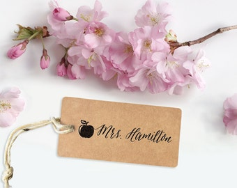 Custom Name Stamp, teacher stamp, custom rubber stamp, self inking stamp, personal name stamp with apple