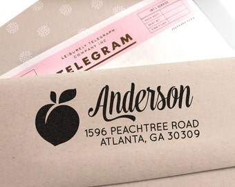 Custom address stamp with a peach, perfect as weeding gift, return address stamp, Georgia or Florida stamp, personalized gift