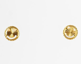 14k Gold Contemporary Smiley Face Earrings