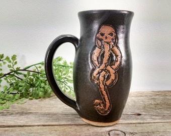 Dark Mark Mug - 15 oz Black Wheel Thrown Hand Carved Coffee Cup
