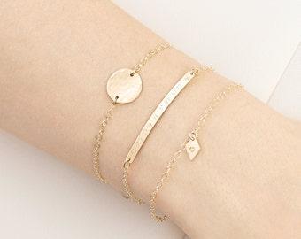 Personalised Gold Fill Stacking Bracelet Set - skinny bar bracelet - disc bracelet - silver initial bracelet - dainty bracelets - name bar