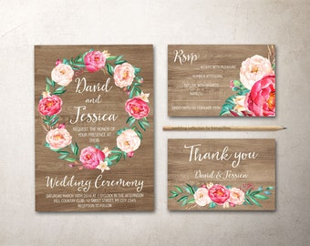 Rustic Wedding Invitation Printable, Floral Wedding Invitation Suite, Peonies Wedding Invitation, Spring Summer Wedding, Printable Wedding