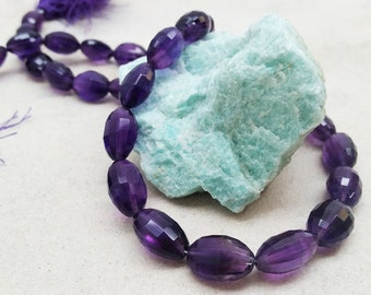 Faceted Amethyst Graduated Oval Beads